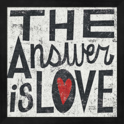 Metaverse Art The Answer Is Love Grunge Square Framed Wall Art