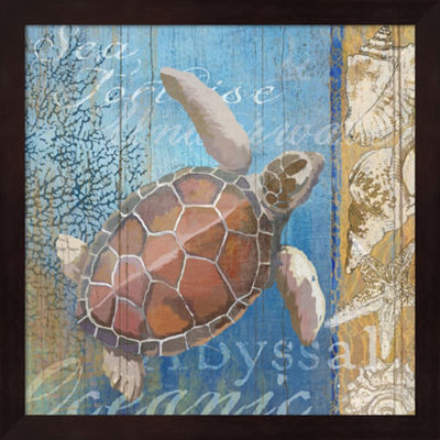 Metaverse Art Turtle And Sea Framed Wall Art