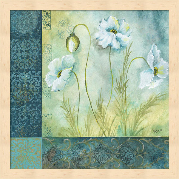 Metaverse Art White Poppy Garden I Framed Wall Art
