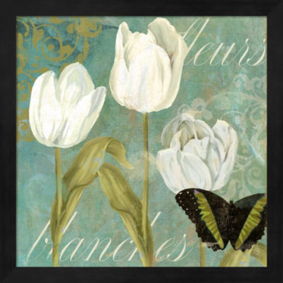 Metaverse Art White Tulips I Framed Wall Art