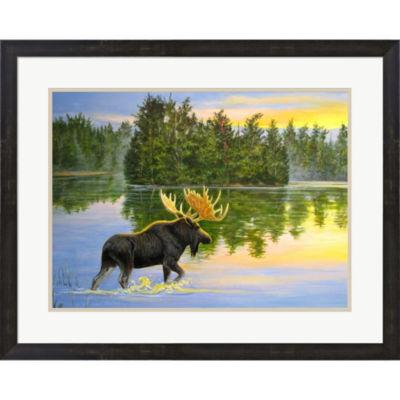 Metaverse Art Wilderness Lake Moose Framed Wall Art