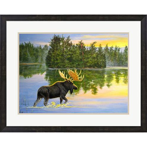 Wilderness Lake Moose Framed Wall Art