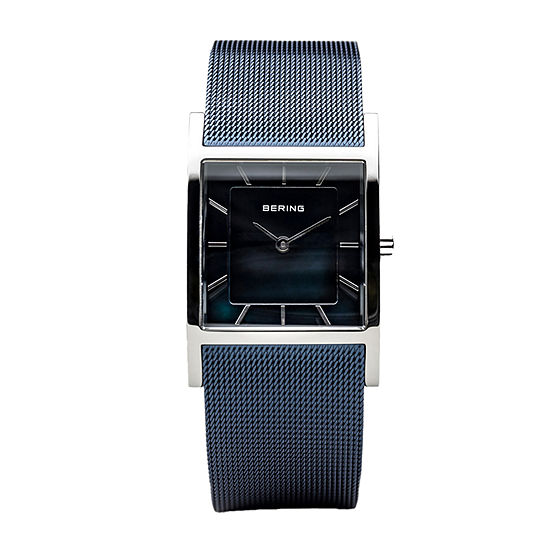 Bering Womens Blue Stainless Steel Bracelet Watch - 10426-307-S