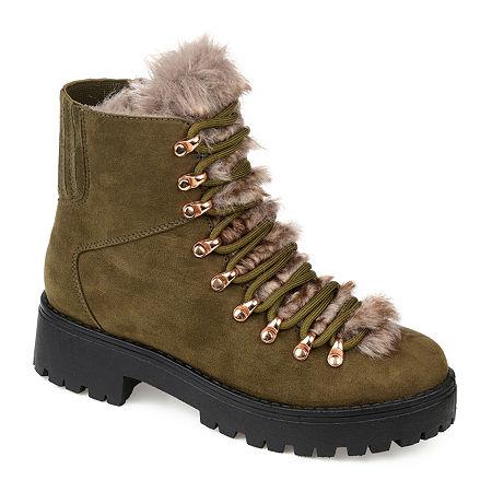 Vintage Winter Retro Boots – Snow, Rain, Cold Journee Collection Womens Trail Combat Block Heel Boots 7 12 Medium Green $79.99 AT vintagedancer.com
