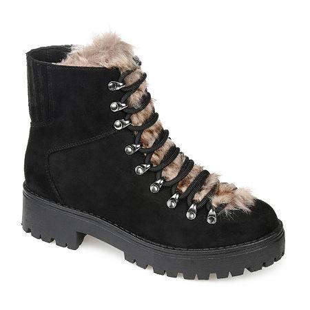 Vintage Winter Retro Boots – Snow, Rain, Cold Journee Collection Womens Trail Combat Block Heel Boots 10 Medium Black $79.99 AT vintagedancer.com