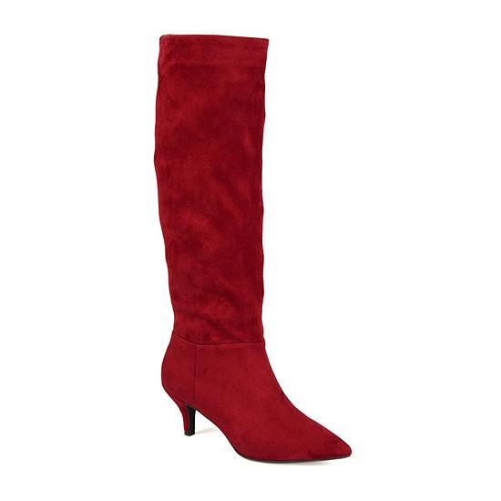 Journee Collection Womens Vellia Wide Calf Kitten Heel Over the Knee Boots