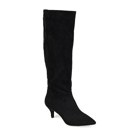 70s Shoes, Platforms, Boots, Heels | 1970s Shoes Journee Collection Womens Vellia Extra Wide Calf Kitten Heel Over the Knee Boots 6 Extra Wide Black $69.99 AT vintagedancer.com