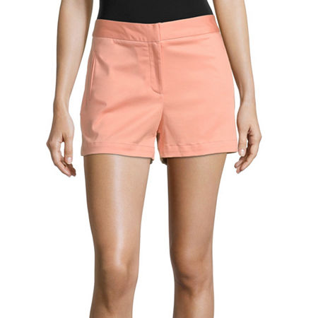 Worthington Womens High Rise Midi Short, 14 , Pink