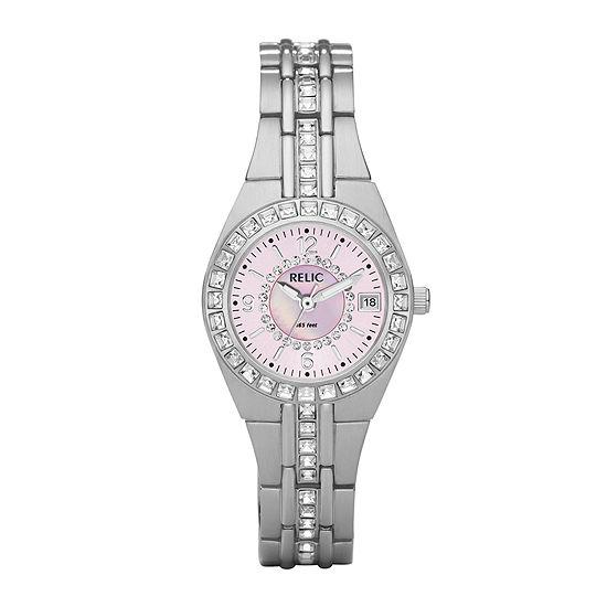 Relic By Fossil Womens Silver Tone Bracelet Watch-Zr11787
