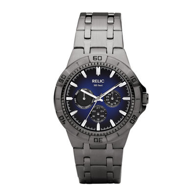 Relic® Mens Gunmetal Blue Dial Watch ZR15533