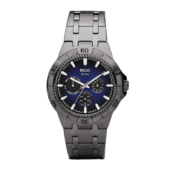 Relic By Fossil Mens Multi-Function Gray Bracelet Watch-Zr15533