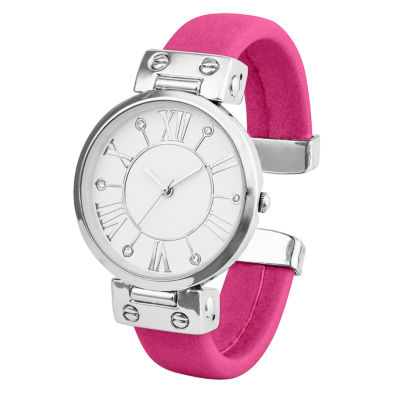 Mixit® Womens Silver-Tone and Pink Bangle Watch