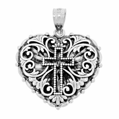 Sterling Silver Cross Heart Charm Pendant