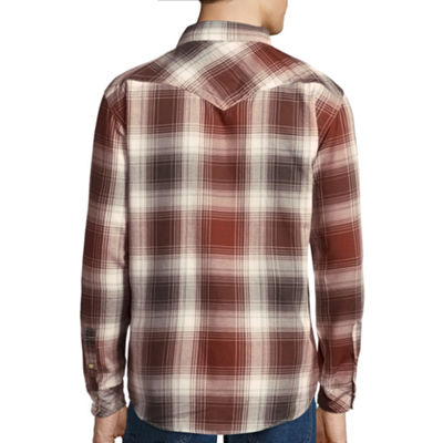 Smith's Workwear Long-Sleeve Plaid Western Shirt with Snaps