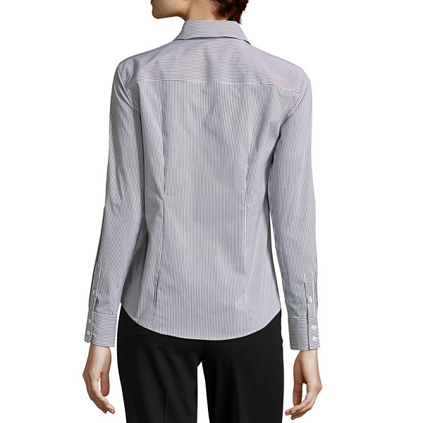 Liz Claiborne Womens Long Sleeve Button-Front Shirt