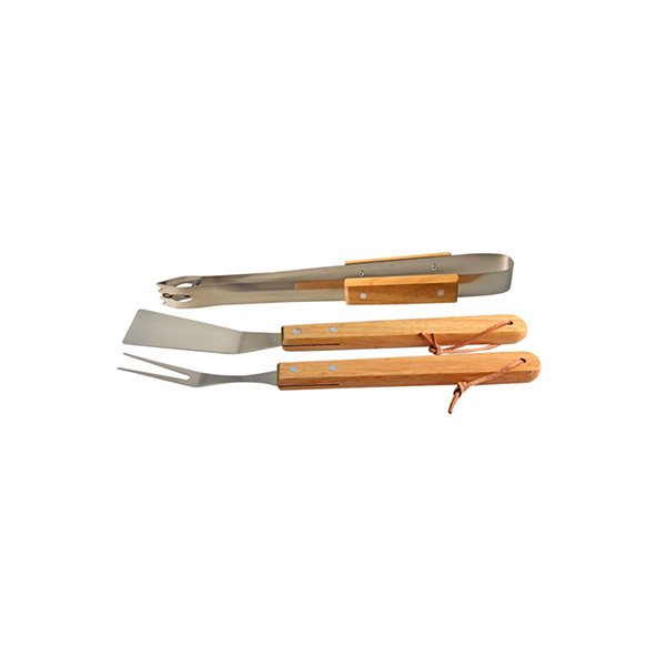 Natico 3 pc Wood & Stainless Steel BBQ Set