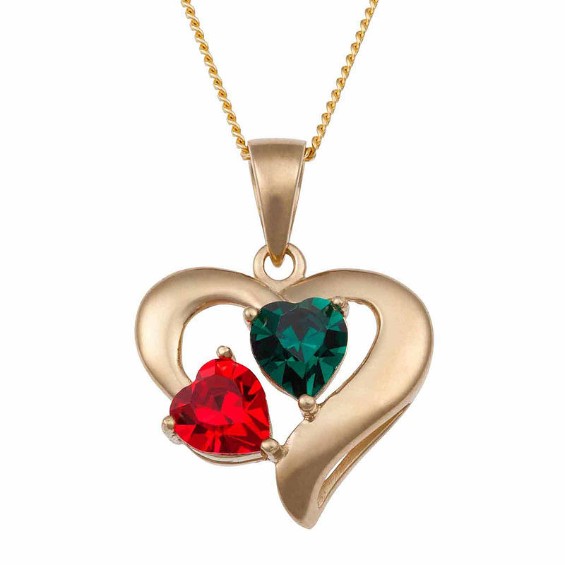 image of Personalized  Couple-s Birthstone Heart Pendant Necklace-pp5007920194