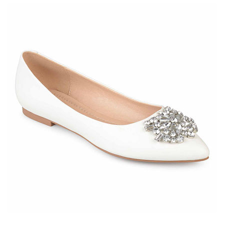 Retro Vintage Flats and Low Heel Shoes Journee Collection Womens Renzo Ballet Flats 7 12 Medium White $52.49 AT vintagedancer.com