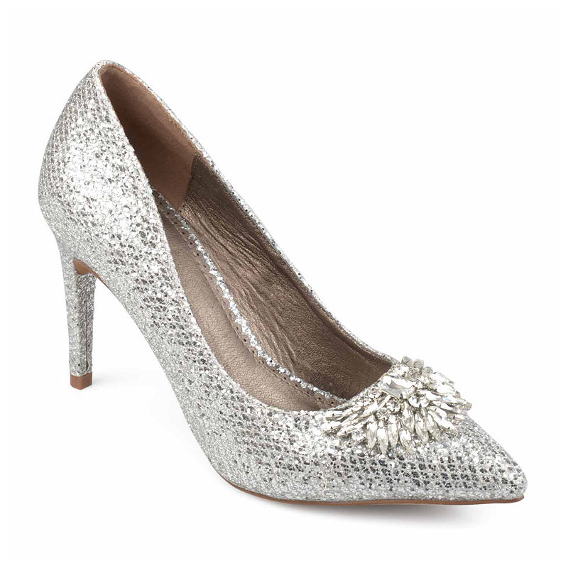 60s Shoes, Boots Journee Collection Womens Albie Pumps Slip-on Pointed Toe Stiletto Heel Size 5 12 Medium Silver $63.74 AT vintagedancer.com