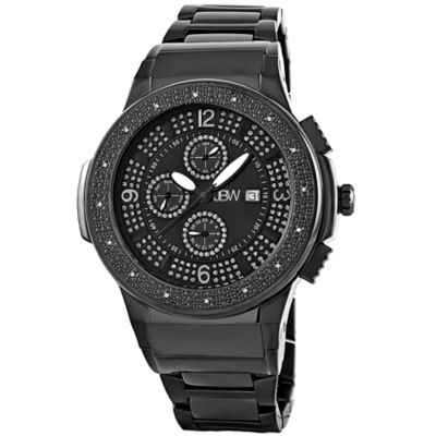JBW Saxon Mens 1/6 CT. T.W. Diamond Black Stainless Steel Watch JB-6101-G