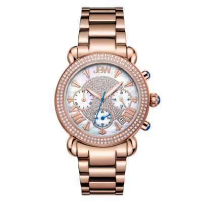 JBW Victory Womens Diamond-Accent Rose-Tone Stainless Steel Bracelet Watch JB-6210-160-G