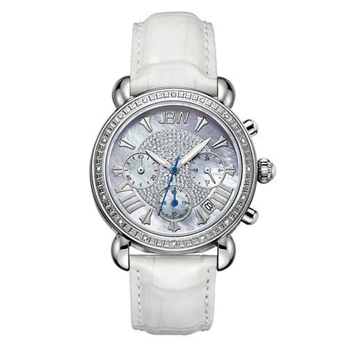 JBW Victory Womens 1/6 CT. T.W. Diamond White Leather Strap Watch JB-6210L-Q