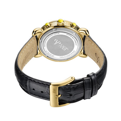 JBW Victory Womens 1/6 CT. T.W. Diamond Black Leather Strap Watch JB-6210L-A