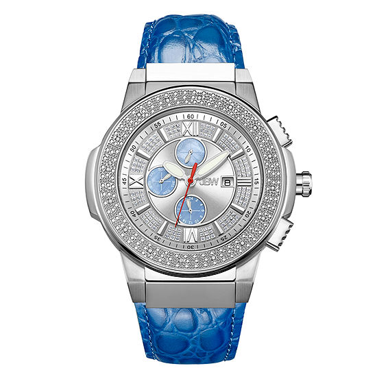 JBW Saxon Mens 1/6 CT. T.W. Diamond Blue Leather Strap Watch JB-6101L-G
