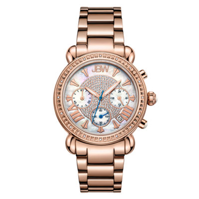 JBW Victory Womens 1/6 CT. T.W. Diamond Rose-Tone Stainless Steel Bracelet Watch JB-6210-K