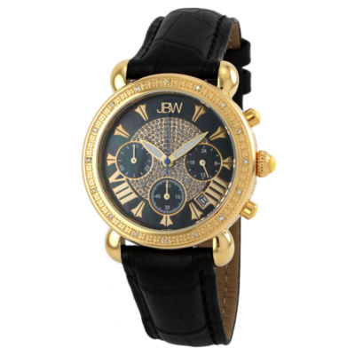 JBW Victory Womens 1/6 CT. T.W. Diamond Black Leather Strap Watch JB-6210L-F