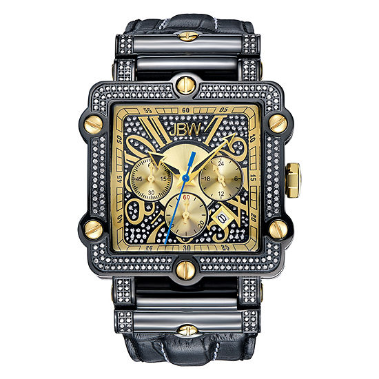 Jbw Phantom Mens 2 Ct Tw Diamond Square Black Leather Strap Watch Jb 6215 238 F