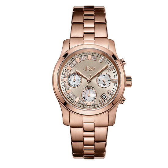 JBW Alessandra Womens Diamond-Accent Rose-Tone Stainless Steel Bracelet Watch JB-6217-L