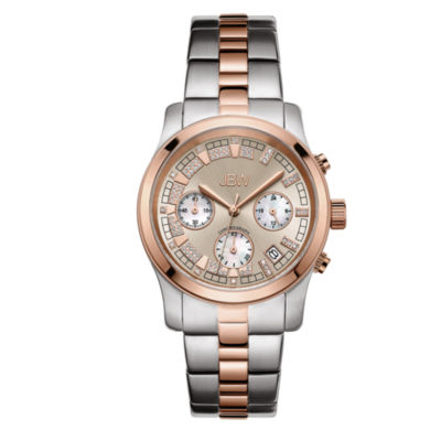 JBW Alessandra Womens Diamond-Accent Two-Tone Stainless Steel Bracelet Watch JB-6217-M