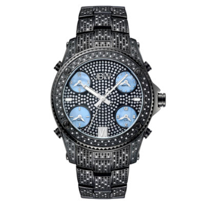 JBW Jet Setter Mens 3 CT. T.W. Diamond Black Stainless Steel Watch JB-6213-B