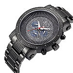 JBW Victor Mens Diamond- and Crystal-Accent Black Stainless Steel Watch JB-8102-G