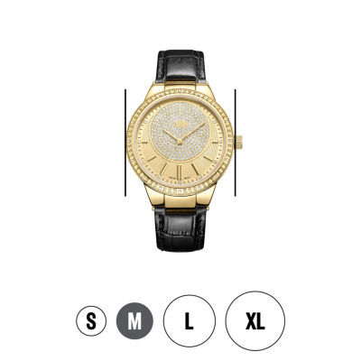 JBW Camille 18k Gold-Plated Stainless Steel 0.16 C.T.W Diamond Accent Womens Black Bracelet Watch-J6345c
