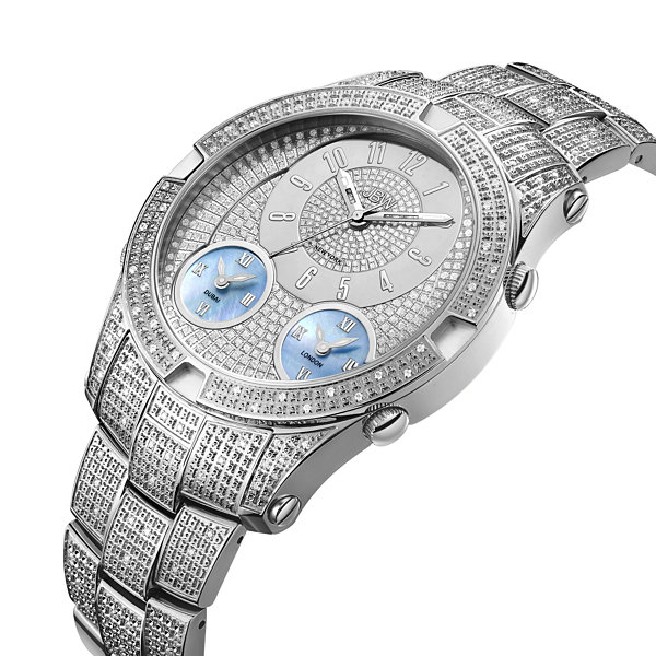 JBW Jet Setter III Stainless Steel 1.18 C.T.W Diamond Accent Mens Silver Tone Bracelet Watch-J6348b