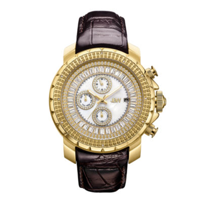 JBW Diamond Mens Multi-Function Diamond Accent Brown Leather Strap Watch-J6347l-A