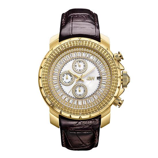 JBW Diamond Mens Multi-Function Diamond Accent Brown Leather Strap Watch-J6347l-A