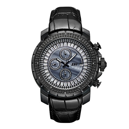 JBW Diamond Mens Multi-Function Diamond Accent Black Leather Strap Watch-J6347l-D