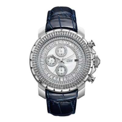 JBW Diamond Mens Multi-Function Diamond Accent Blue Leather Strap Watch-J6347l-E