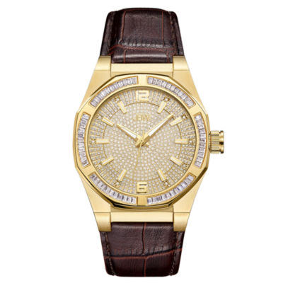 JBW Diamond Mens Brown Strap Watch-J6350b