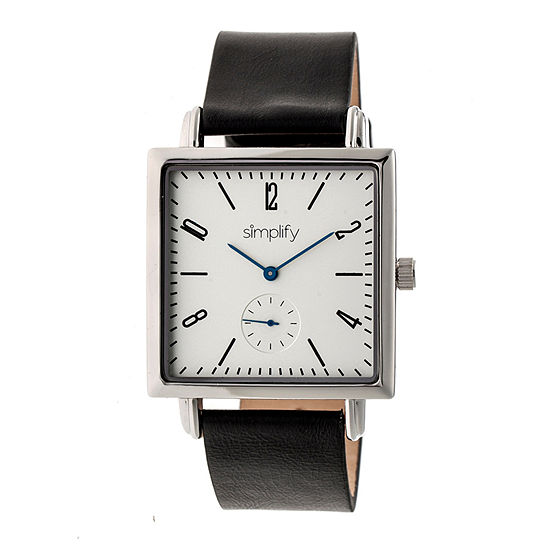 Simplify Mens Black Leather Strap Watch-Sim5001