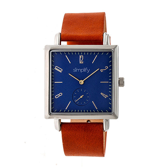 Simplify Blue Dial Mens Brown Leather Strap Watch-Sim5004