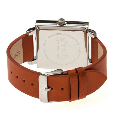 Simplify Blue Dial Mens Brown Strap Watch-Sim5004