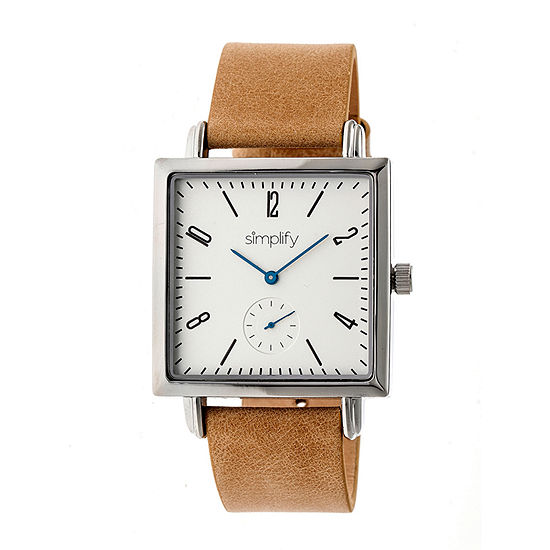 Simplify Mens Brown Leather Strap Watch-Sim5005