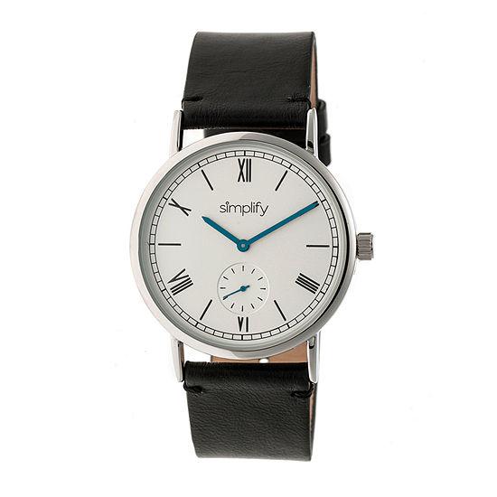 Simplify Mens Black Leather Strap Watch-Sim5101