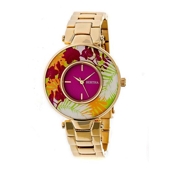 Bertha Womens Gold Tone Stainless Steel Bracelet Watch-Bthbr6602