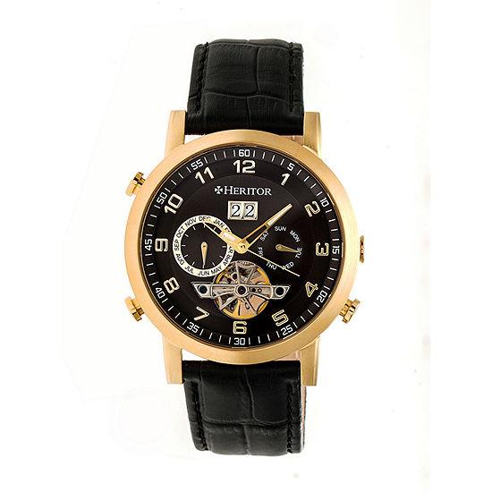 Heritor Edmond Mens Automatic Black Leather Strap Watch-Herhr6204
