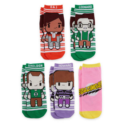 Mixit 5 Pair No Show Socks - Big Bang Theory